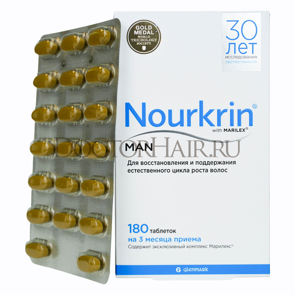 Купить Нуркрин для мужчин, Витамины для восстановления волос, 180 таб фото