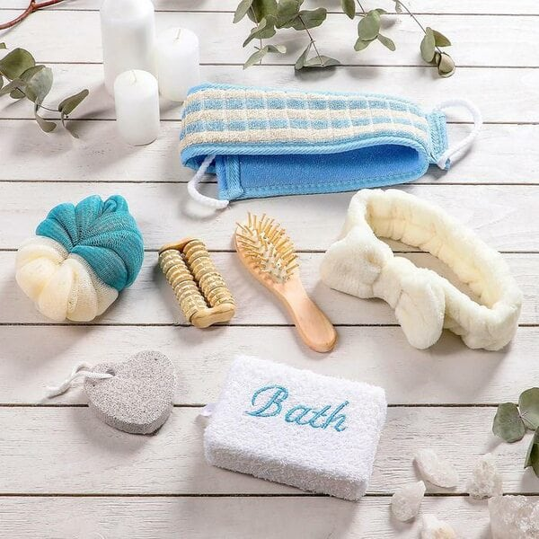 Купить Набор банный, 7 предметов: 3 мочалки, повязка на голову, расческа, массажер, пемза, цвет МИКС фото 2