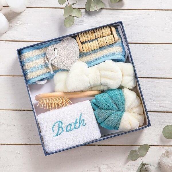 Купить Набор банный, 7 предметов: 3 мочалки, повязка на голову, расческа, массажер, пемза, цвет МИКС фото 1