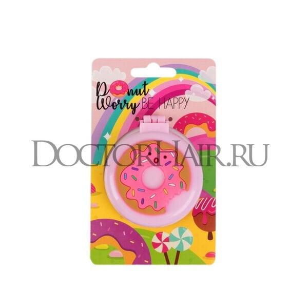 Расчёска массажная «Пончик» с зеркалом, складная, цвет микс