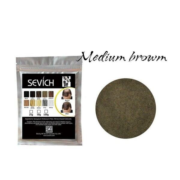 Загуститель для волос средне-коричневый, medium brown Sevich, 25 гр (рефил)