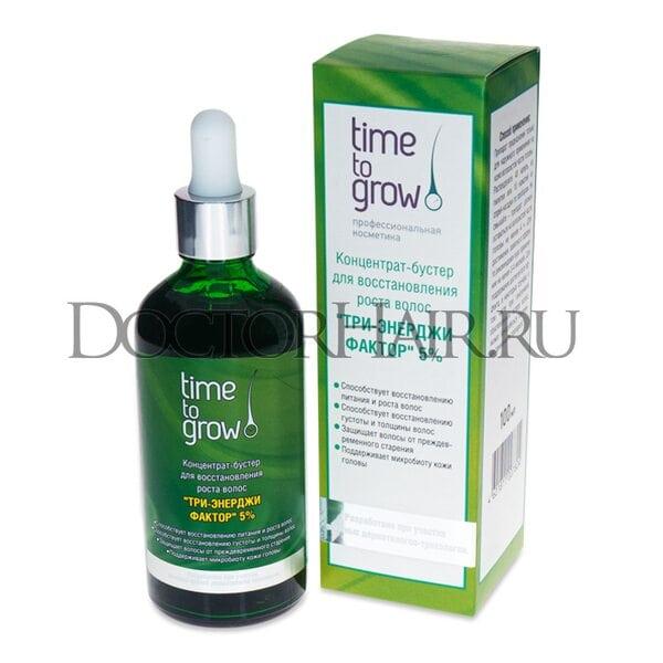 Купить Лосьон концентрат-бустер Time to Grow для восстановления роста волос «Три-энерджи фактор» 5% фото